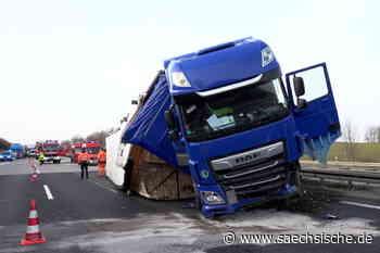 Stau: Laster kippt auf A4 bei Hainichen um - Sächsische Zeitung