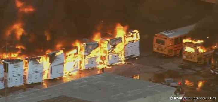 Buses Burn, Transformers Explode After Massive Blaze Breaks Out At Compton Pallet Yard