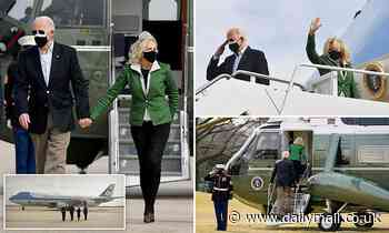 Joe and Jill Biden take off for Texas in her first trip on Boeing 747 Air Force One