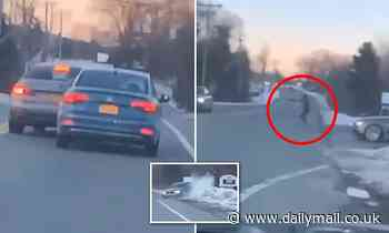 Video shows crash and shooting on Massachusetts road