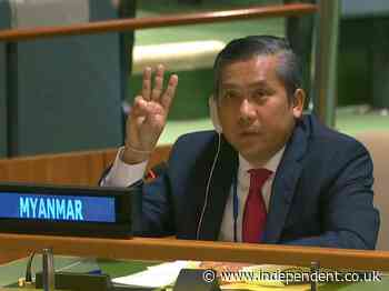 Myanmar UN ambassador supports protestors with three finger salute