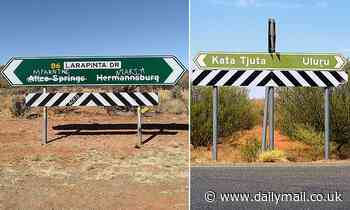 Outback road sign with Alice Springs  replaced by the Indigenous place name sparks furious debate