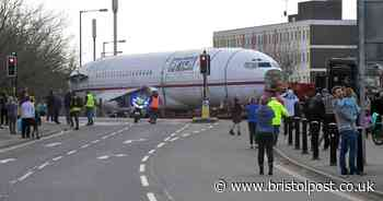 The moment a Boeing 727 is driven into Bristol on the M5