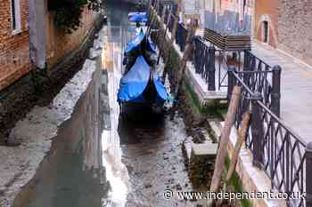Exceptionally low tide leaves Venice canals almost empty