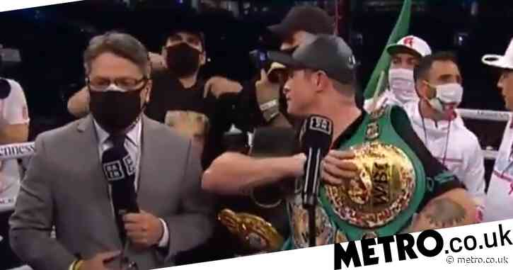 Canelo Alvarez tells Jake Paul fan to 'get the f**k out of here' after mystery pair crash post-fight interview