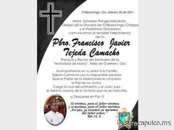 Fallece de Covid el párroco y rector del Santuario de Tixtla Francisco Javier Tejeda - El Sur Acapulco suracapulco I Noticias Acapulco Guerrero - El Sur de Acapulco