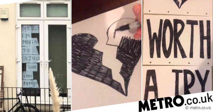 Woman tries to chat up her neighbour by posting hand-drawn signs in her window