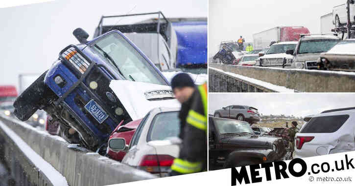Dozens of vehicles crash 'like bumper cars' in pile-up on icy bridge