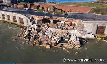 Henry VIII castle collapses into sea as it is battered by storms a week before work was due to begin