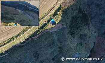 Shocking pictures show how family pitched their tent on crumbling cliff edge just after landslips