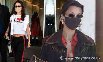 Bella Hadid shows off her figure in two ensembles