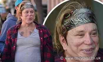 Mickey Rourke, 68, flashes his tattoos and a smile during lunch in Beverly Hills - Daily Mail