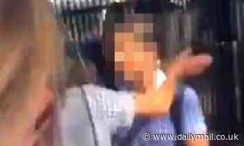 Private school girl's fight after one is offered a beer to throw the first punch