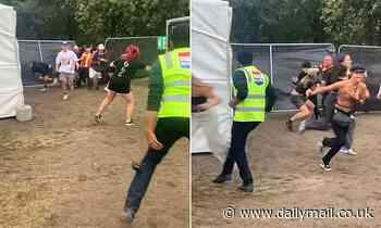 Gang of teenagers gate crashing a festival outnumber flailing security guards