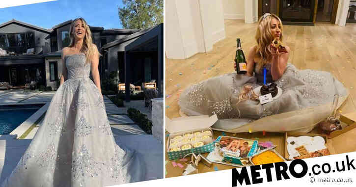 Kaley Cuoco takes Golden Globes loss like a trooper as she pigs out on cake and pizza and that's why we love her