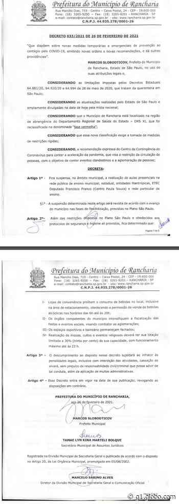 Rancharia determina suspensão das aulas presenciais nas redes pública e privada de ensino - G1