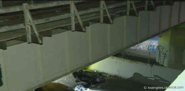 Driver Killed After Car Flies Off Railroad Bridge In Baldwin Hills