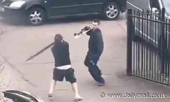Skateboarder and umbrella-wielding driver in bizarre road rage fight