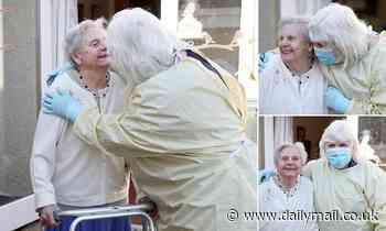 The first of many! Delighted daughter hugs her 90-year-old mother indoors for first time in months