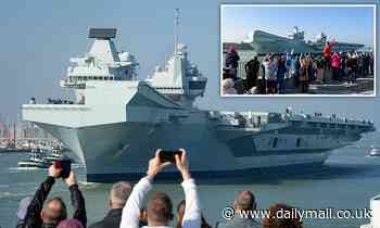 Hundreds watch £3bn aircraft carrier HMS Queen Elizabeth leave Portsmouth for Mediterranean