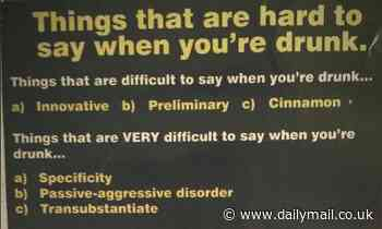Police share hilarious poster in Perth pub listing things that are hard to say when drunk