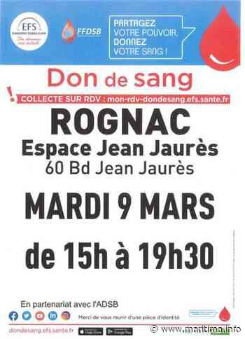 Rognac - Santé - Don du sang : une collecte organisée le mardi 9 mars à Rognac - Maritima.info