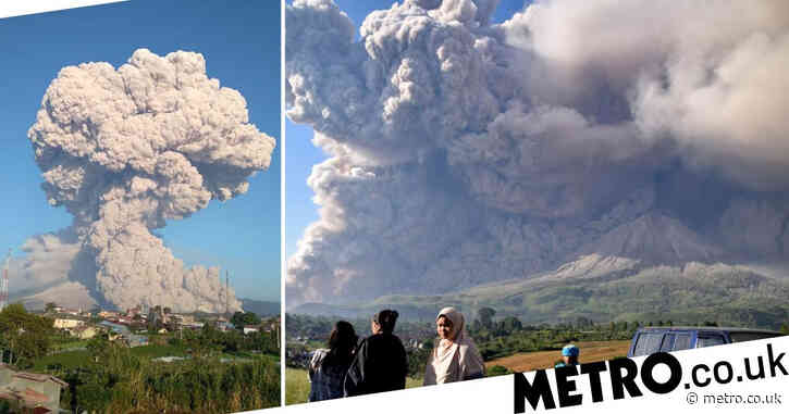 Volcano spews ash cloud 5km into the sky with villages on high alert