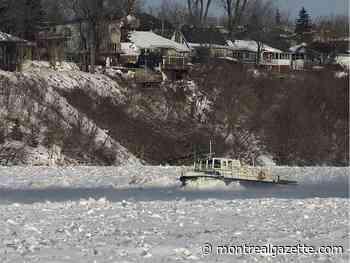 Floating excavator equipment deployed as Drummondville prepares for ice jams - Montreal Gazette