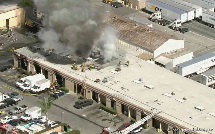 Firefighters Battle Blaze At Strip Mall In Paramount