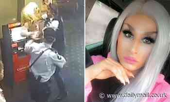 Shocking footage has revealed the moment a police officer violently arrests a transgender woman