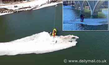 Two men rescued from floating ice sheet after it breaks off while they were fishing on it