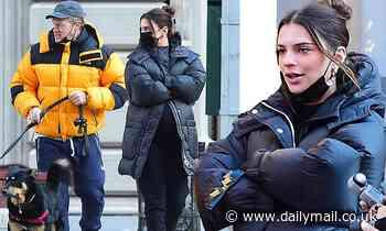 Pregnant Emily Ratajkowski bundles up with husband Sebastian Bear-McClard to walk their dog in NYC