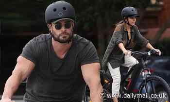 Chris Hemsworth and Elsa Pataky ride $3,400 electric bicycles around Sydney