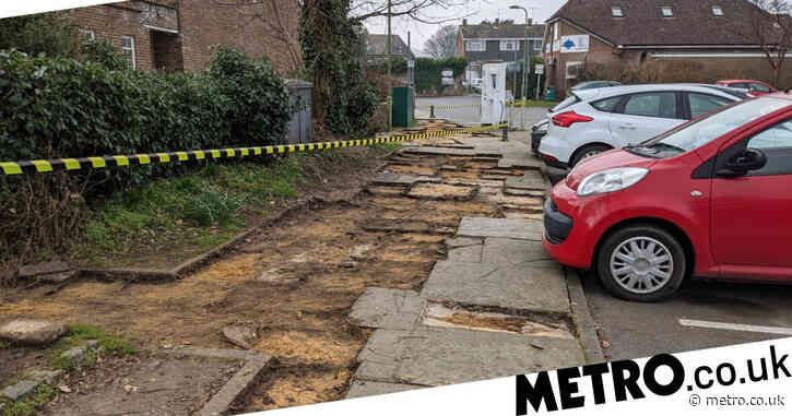 Entire pavement 'stolen' overnight from village