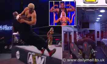 Shaquille O'Neal bends knees to fit in ambulance after Cody Rhodes sends him through table
