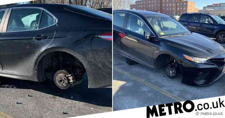 Pandemic-fighting hospital nurse finishes work to find her car wheels stolen