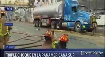 San Borja: triple choque en Panamericana Sur deja tres heridos y causa derrame de combustible [VIDEO] - Diario Perú21
