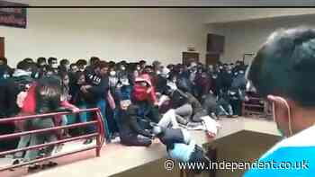 Video shows moment balcony railing collapses at Bolivia university, killing seven students