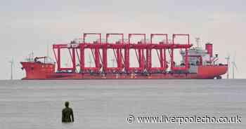 Live updates as fleet of massive red cranes arrive on River Mersey