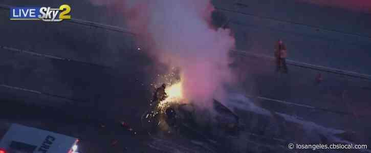 One Killed In Fiery Wreck On 60 Freeway In Hacienda Heights