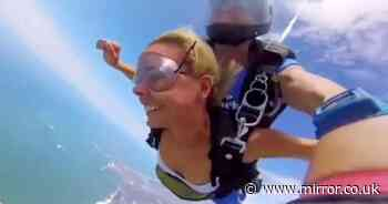 "Woman's skydiving video goes viral as she jokes it was ""ruined"" by the wind"
