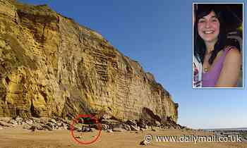 Dorset sunbathers soak up rays beneath crumbling cliffs in exact spot where tourist crushed to death