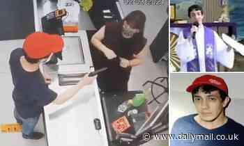 Moment PRIEST, 27, holds up a supermarket cashier with a fake gun in Brazil