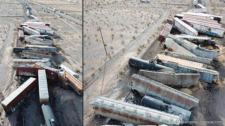 Dozens Of Rail Cars Left Scattered On Tracks Near Mojave Desert After Train Derailment