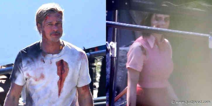 Brad Pitt Looks Bloody & Bruised on 'Bullet Train' Set Alongside Joey King!