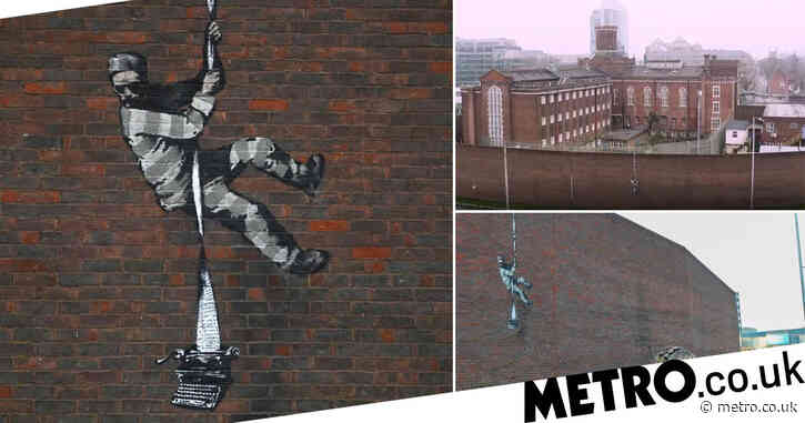 Artwork of escaping inmate on former prison confirmed as Banksy