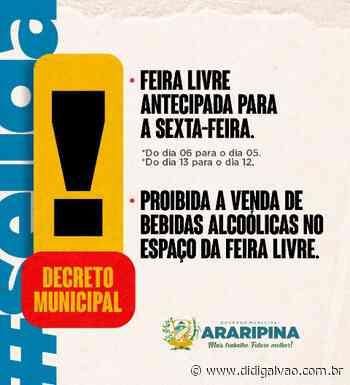 Decreto municipal antecipa a feira livre de Araripina para sexta - Blog do Didi Galvão