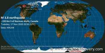 Quake info: Moderate mag. 3.8 earthquake - - 192 km S of Norman Wells, Canada, on Tuesday, 17 Nov 2020 1:50 pm (GMT -7) - 2 user experience reports - VolcanoDiscovery