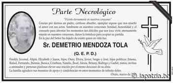 Parte Necrológico: Sr. DEMETRIO MENDOZA TOLA (QEPD) - Periódico La Patria (Oruro - Bolivia)