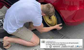 Electrician's random act of kindness goes viral after changing woman's tyre in Melbourne